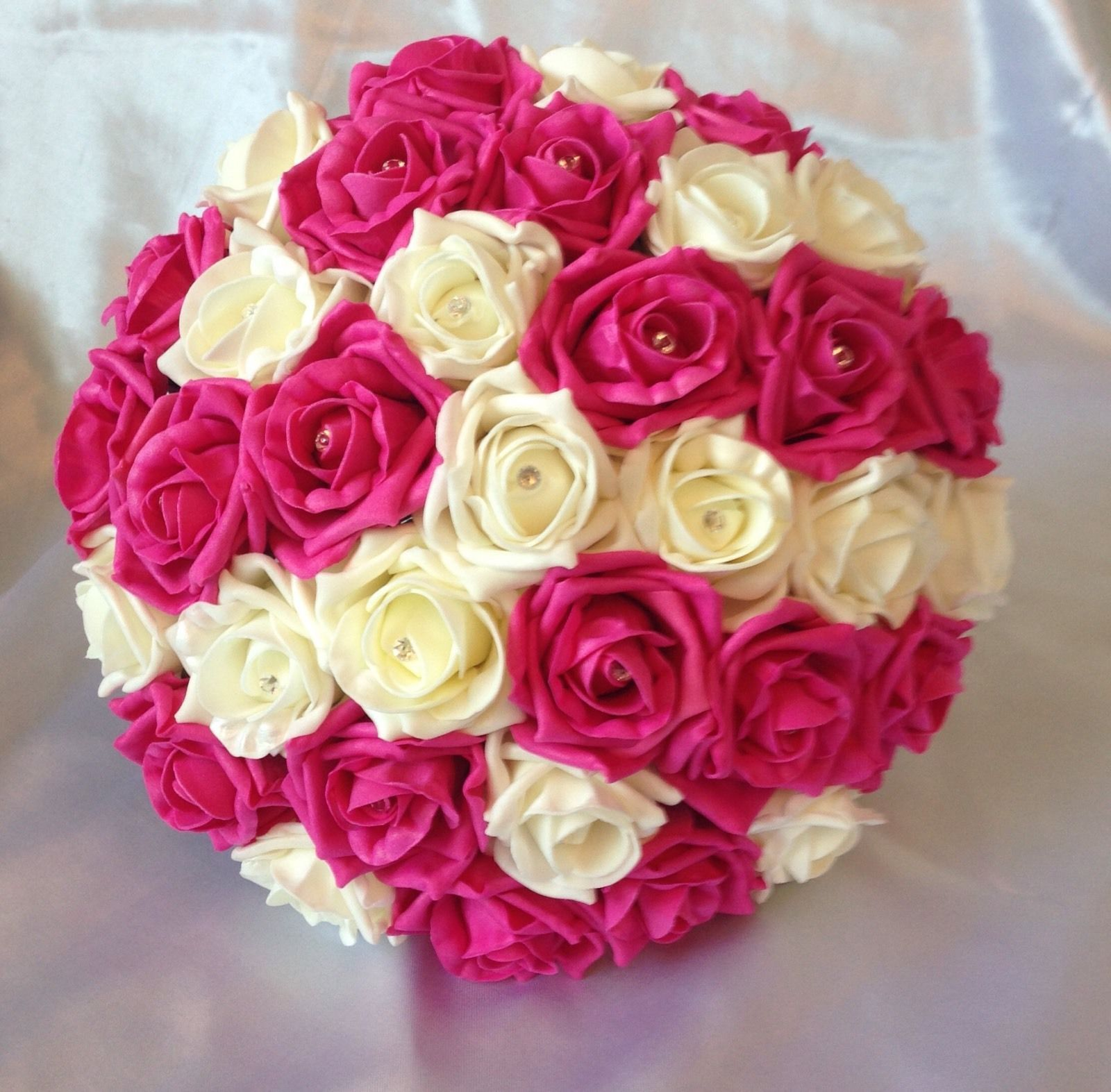 Pink Wedding Bouquets: ARTIFICIAL FLOWERS HOT PINK IVORY FOAM ROSE BRIDE WEDDING